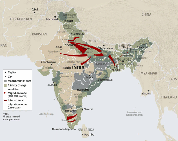 India Climate & Migration Map