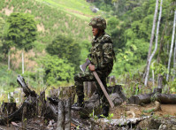 A soldier of the Seventh Division of the Colombian National Army looks on during an operation to eradicate coca crops at a plantation in Yali
