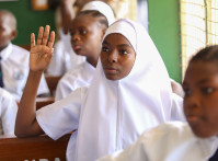 Students in Standard 7 class at Zanaki Primary School in Dar es Salaam, Tanzania.