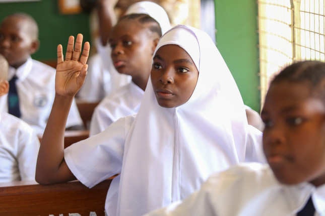 Students in Standard 7 class at Zanaki Primary School in Dar es Salaam, Tanzania.