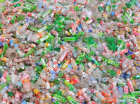 Empty Chinese plastic bottles ready to be recycled