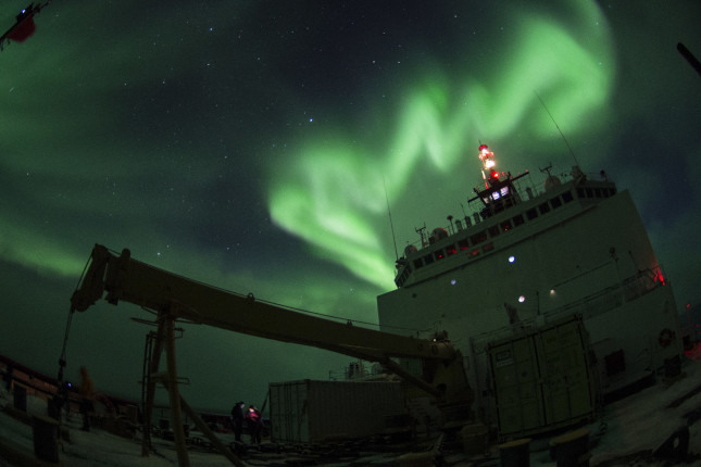 Aurora borealis is observed from Coast Guard Cutter Healy Oct. 4, 2015, while conducting science operations in the southern Arctic Ocean. Healy is underway in the Arctic Ocean in support of the National Science Foundation-funded Arctic GEOTRACES, part of an international effort to study the distribution of trace elements in the world's oceans. U.S. Coast Guard photo by Petty Officer 2nd Class Cory J. Mendenhall. US Coast Guard