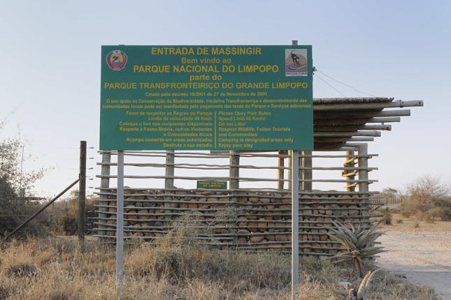 Massingir entrance to Limpopo Transfrontier Park