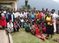 A group photo of VHCTs after  a training at the Gorilla Health and Community Conservation Center