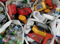 Waste plastic bottles from automobile oils and beverages