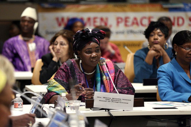 "Scenes from the event - ""Women Peace and Security in Mali  - supporting women's role and effective participation In the implementation of the Malian peace accords.""  The event was  organized by the Government of Mali with support from UN Women Mali Country Office and held at United Nations Headquarters on 22 October, 2015. Speakers included:  UN Women Deputy Executive Director Yannick Glenmarec;  Saran Keita, Edmund Mulet, Assistant Secretary General United Nations Department of Peacekeeping Operations; Marie Noelle Vaeza, Head of Programme, UN Women; Margot Wallstrom, Minister Foreign Affairs, Sweden; Sangare Oumou, Minister of Gender Affairs of Mail Photo: UN Women/Ryan Brown"
