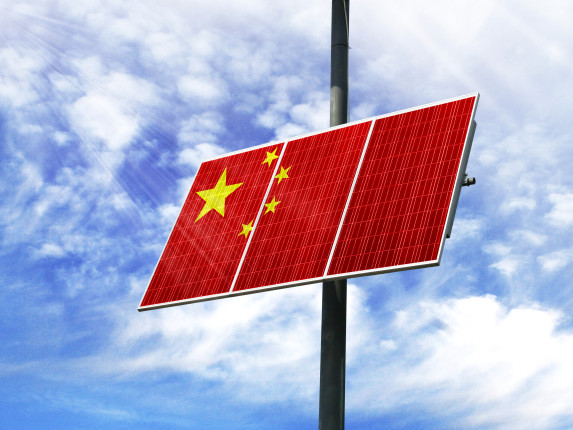 solar panel with Chinese flag