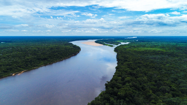 Aerial view of a free-flowing river in the Bolivian Amazon, Boliva.