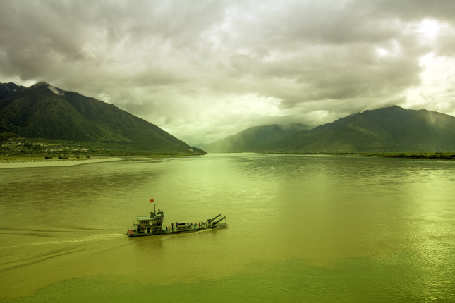 """The,Junction,Of,Two,Rivers,In,China,,Tibet,,""""the,Brahmaputra"""