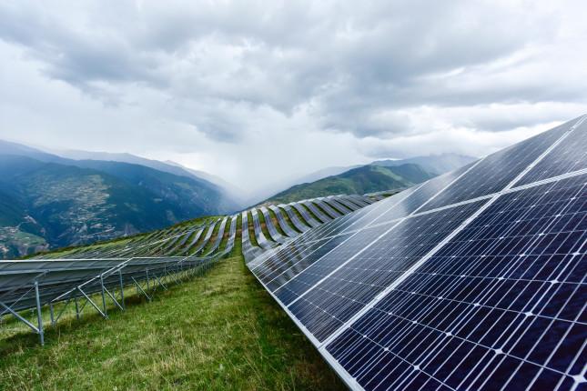 The,Solar,Panel,At,A,Mountain,Peak,Near,Tibet,,China.