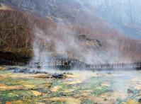 Water,Vapor,Rising,From,A,Hot,Spring,Under,Jangbaek,Falls